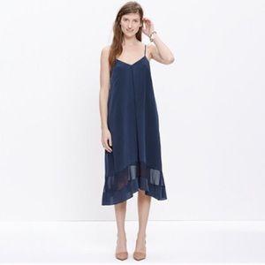 Madewell silk sheer-stripe cami Navy blue dress